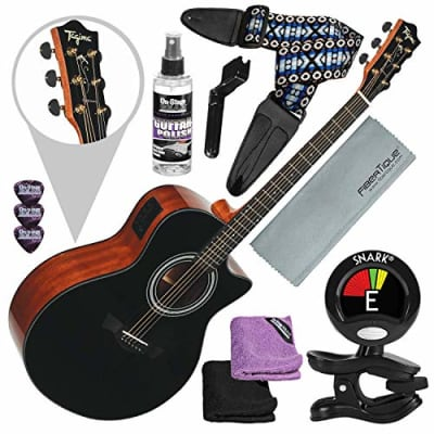Tagima America Series California-T Acoustic Electric Guitar, Black with Guitar Strap and Accessory Bundle for sale