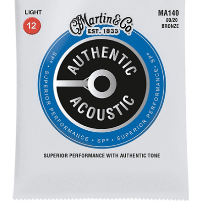 Martin MA140 Authentic Acoustic SP 80/20 Bronze Acoustic Guitar Strings - Light (.12 - .54)