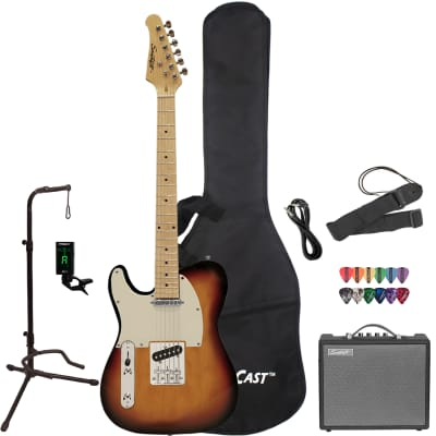 Sawtooth ET Series Left-Handed Electric Guitar with Gig Bag, 10 Watt Amp, and Accessories, Sunburst with Aged White Pickguard for sale