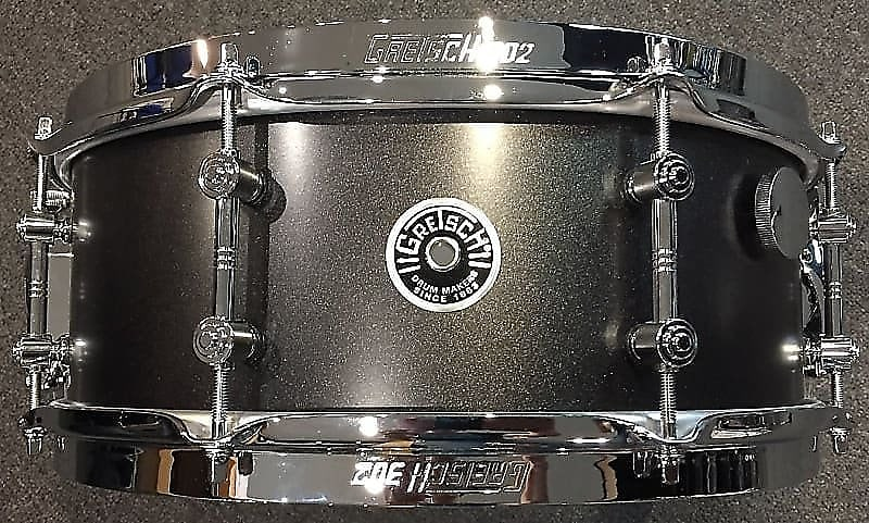 "2020 Gretsch 5.5x14"" Mike Johnston Brooklyn Standard Snare Drum in Satin Black Metallic w/ Video"
