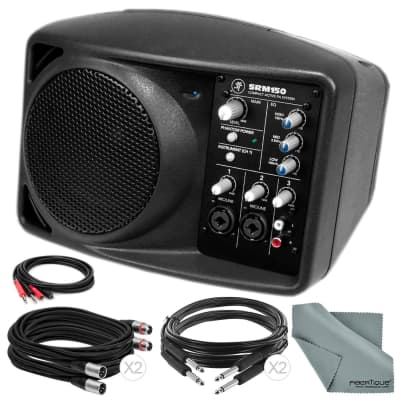 Mackie SRM150 5.25-Inch Compact Active PA System (Black) and Basic Accessory Bundle with 5X Cables + Fibertique Cloth