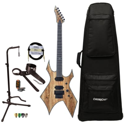 BC Rich Guitars Warlock Extreme Exotic Electric Guitar with Floyd Rose, Case, Strap, and Stand, Spalted Maple for sale