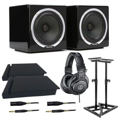 Avantone Pro Active MixCubes Pair (Black), Mackie Big Knob Passive, AT ATH-M30X, Monitor Stands, (2) XLR to 1/4 Cables, Pads Bundle