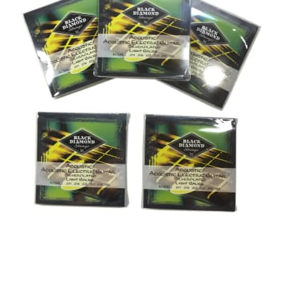 Black Diamond Guitar Strings 5-Pack Acoustic Light Silver Plated N754L 11-51