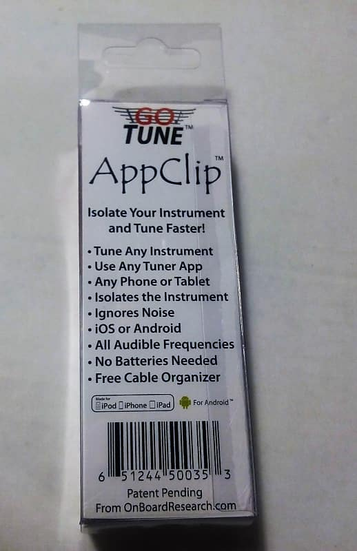 OnBoard Research (aka Intellitouch) GoTune - AppClip - Works with iOS &  Android w/ any Tuner App