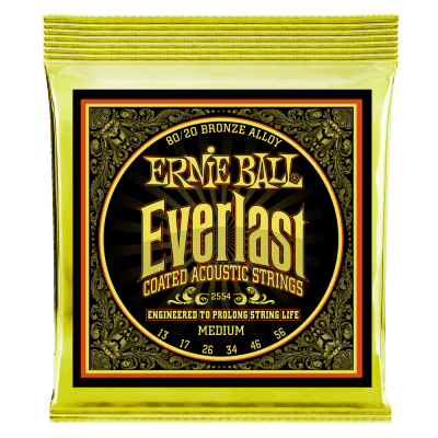 Ernie Ball 2554 Everlast 80/20 Bronze Medium Coated Acoustic Guitar Strings (13-56)
