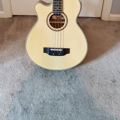 Oscar Schmidt OB100-B Acoustic/Electric Bass honey LEFT-HANDED for sale