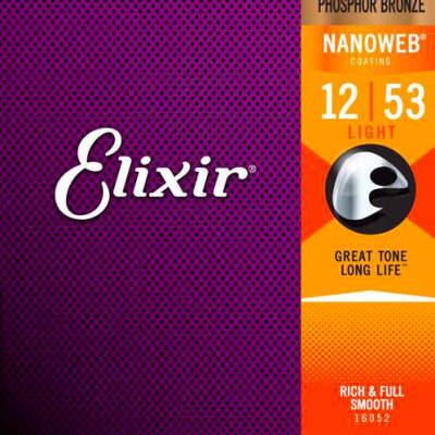 Elixir Phosphor Bronze Nanoweb Coated 12-53 Acoustic Guitar Strings Light