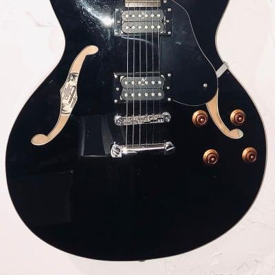 Oscar Schmidt OE-30/BK  Delta King Semi Hollow Body Guitar W/Nice Tolex Hard Case Black W/ F-Holes for sale