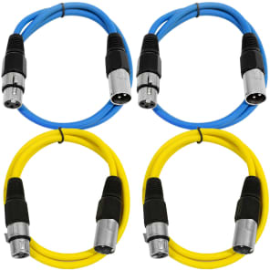Seismic Audio SAXLX-3-2BLUE2YELLOW XLR Male to XLR Female Patch Cable - 3' (4-Pack)
