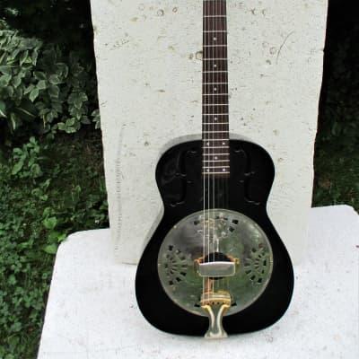 Galveston Metal Body Resonator Guitar, Black, Very Clean, Gig Bag for sale