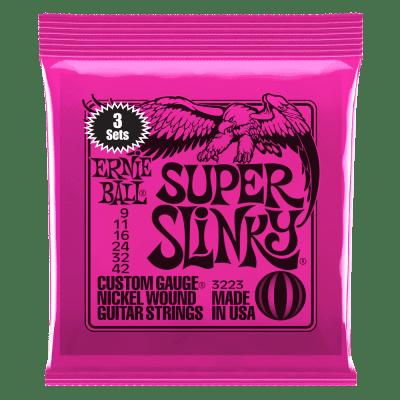 Ernie Ball Super Slinky Nickel Wound Electric Guitar Strings 3 Pack - 9-42 Gauge
