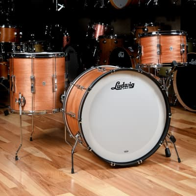 Ludwig Club Date 13/16/22 3pc. Drum Kit Mahogany Satin Lacquer w/Bowtie Lugs & White Interior (CDE Exclusive) USED
