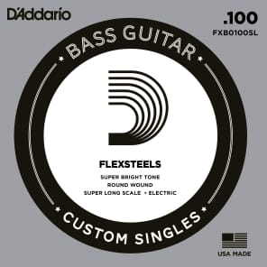 D'Addario FXB100SL FlexSteels Bass Guitar Single String Super Long Scale .100