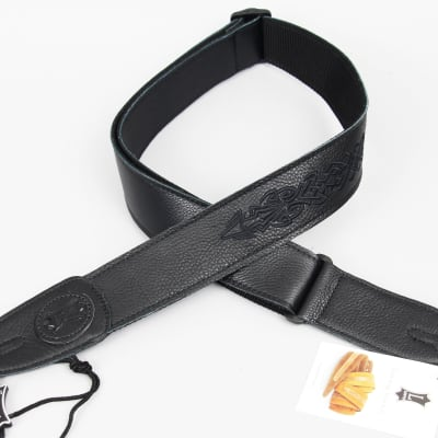 Levys MSS7GPE Guitar Strap | Black Garment Leather with Embroidery - 004 Design