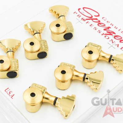 Sperzel 3x3 STEP BUTTON Trimlok 3-Per-Side Locking Guitar Tuners - GOLD PLATED for sale