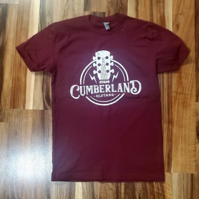 Cumberland Guitars Distressed T-Shirt - Maroon - Extra Large XL