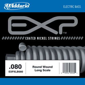D'Addario EXPXLB080 EXP Coated Nickel Round Wound Bass Guitar Single String .080