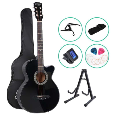 ALPHA Acoustic Folk Cutaway Guitar with Accessories set Black for sale