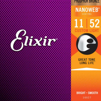 Elixir Nanoweb Coated Phosphor Bronze Acoustic Guitar Strings - Custom Light 11-52