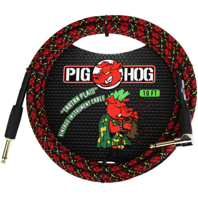 Pig Hog PCH10PLR Vintage Series 10' ft Woven Instrument Cable, Tartan Plaid