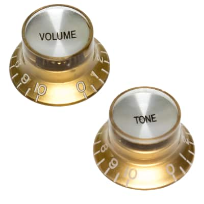 2 x Top Hat Knobs with Reflective Tops - Gold, Gold for Alpha | Reverb