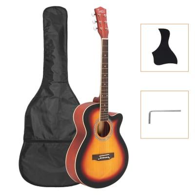 Glarry GT501 40inch Matte Concert Cutaway Spruce Front Folk Acoustic Guitar Gradient Sunset for sale