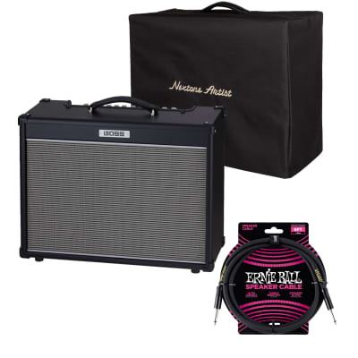 Boss NEXTONE Artist 80W Amplifier, Boss BAC-NEXA Amp Cover, Ernie Ball Guitar Cable PO6072 Bundle