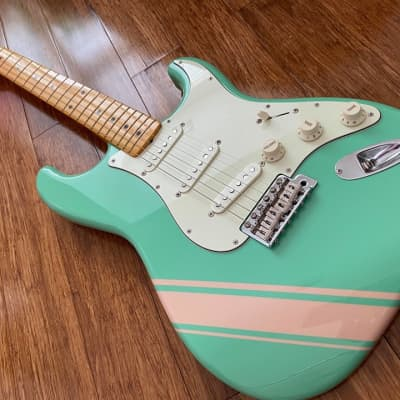 Fender Stratocaster Competition Japan FSR Traditional 2018 Surf Green w/ Shell Pink Stripes for sale
