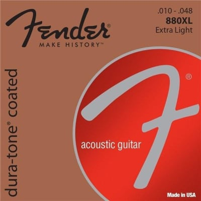 Fender Dura-Tone Coated 80/20 Bronze Acoustic Guitar Strings - Extra Light | 880XL for sale