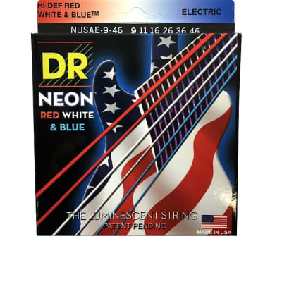 DR Strings Guitar Strings Electric Neon Red White Blue 09-46 Light and Heavy
