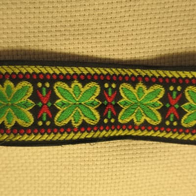 ACE Style Woven Embroidered Hippie Flower Guitar Strap, Japan, circa 1970s-1980s - Leather Ends for sale