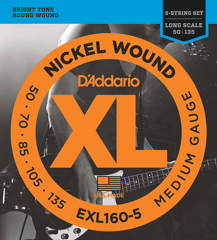 D'Addario EXL160-5 5-String Nickel Wound Bass Guitar Strings, Medium, 50-135, L