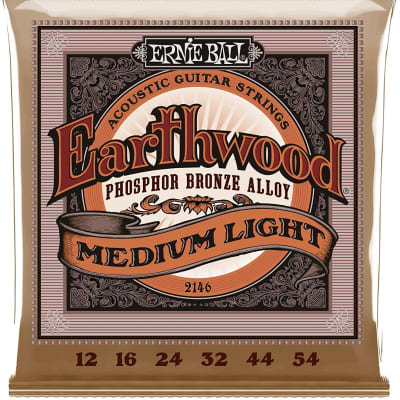 Ernie Ball Earthwood Medium Light Phosphor Bronze Acoustic Guitar Strings - 12-54 Gauge (2146)