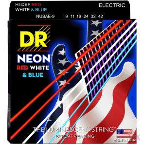 DR NUSAE-9 Neon Hi-Def Electric Guitar Strings - Light (9-42)