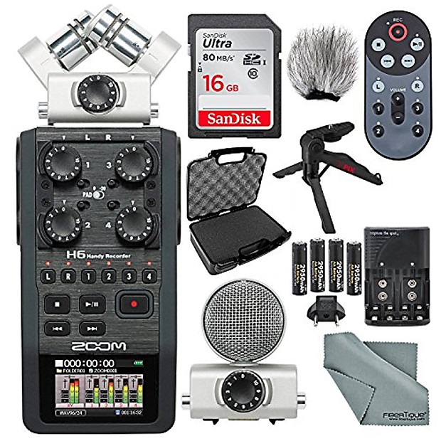 Zoom H6 Portable Recorder with Interchangeable Mic System Deluxe Bundle w/  Case + Remote + XPIX Tripod + 16GB + Windscreen + Batteries + Fibertique