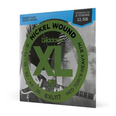 D'Addario EXL117 Nickel Wound Medium Top / Extra-Heavy BottomElectric Guitar Strings, 11-56 Nickel