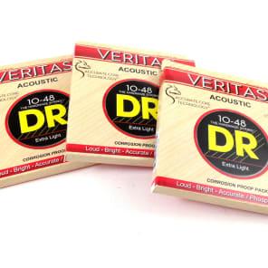 DR Guitar Strings 3 Pack Veritas Acoustic 10-48 Extra Light Phosphor Bronze