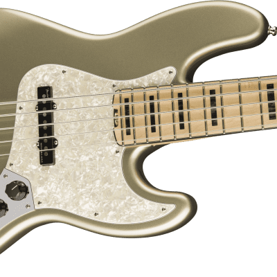 NEW! Fender American Elite Jazz Bass V Maple Board Champagne Finish 5-String Authorized Dealer for sale