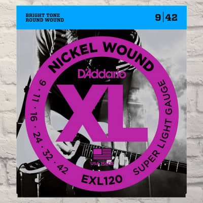 D'Addario EXL120 Super Light Nickel Wound Electric Guitar Strings 9-42