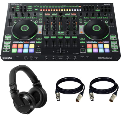 Roland DJ-808 4-Channel Mixer & DJ Controller with Pioneer DJ HDJ-X7 Professional Over-Ear DJ Headphones (Black) and Cables