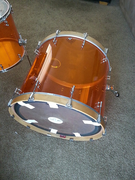 Lady Luck Custom Acrylic Drum Kit 2012 Orange 24x20 18x16