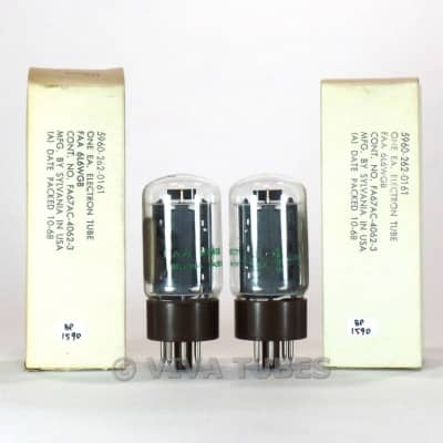 True NOS NIB Date Matched Pair Sylvania FAA-6L6WGB/5881 Brown Base Tubes