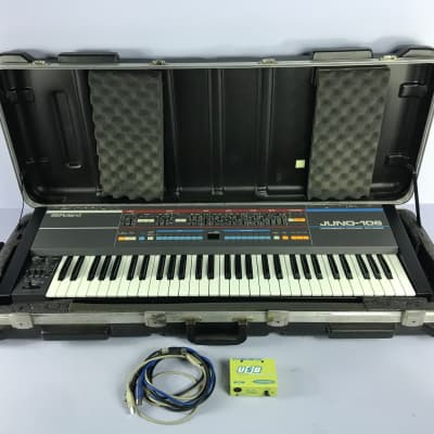 "Vintage Roland Juno-106 Juno 106 Synth  + SKB w/ Wheels + midisport ""Synthspa Voice board serviced"""