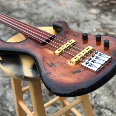 Bootleg Guitars DAWG Bass 4 string Fretless 2018 Factory distressed for sale