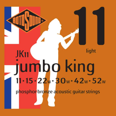 Rotosound Jumbo King Phosphor Bronze Acoustic Guitar Strings Set - JK11 11-52 for sale