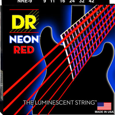 DR Strings NRE-9 NEON Red Electric Strings - Light, 9-42 for sale