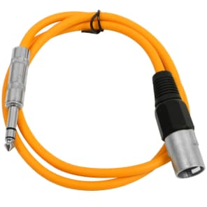 "Seismic Audio SATRXL-M2ORANGE XLR Male to 1/4"" TRS Male Patch Cable - 2'"