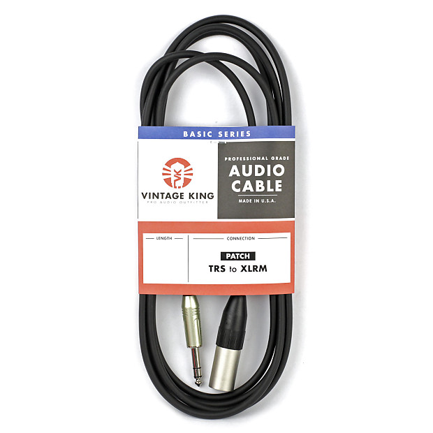 Vintage King Basic Studio Patch Cable TRS - XLRM - 5\' | Reverb