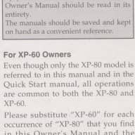 Roland XP-60 XP-80 Music Work Station 64 Voice 4 X Expansion Owner's Manual